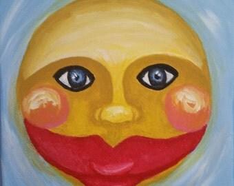 Creepy Sun - acrylic on canvas
