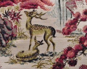 "Mid Century Pillow Cover Barkcloth ""Enchanted Forest"" 21"" Vintage Retro"