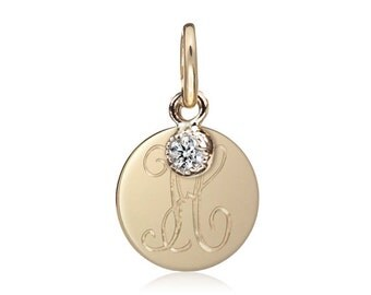 Gold initial disc charm with diamond, 14k gold, personalized initial charm, diamond charm, per-c102