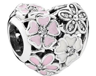 sterling silver Poetic Blooms Heart Charm spring colection