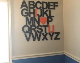 Wooden Alphabet Set, Nursery Wall Letters, Alphabet Wall Art,  Wooden letters great for nursery or palyroom set of 26 wood letters