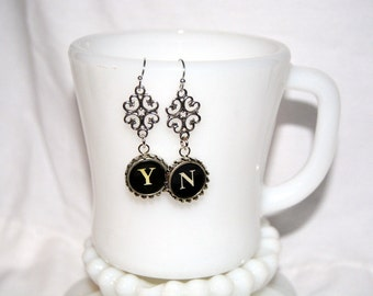 Typewriter Key Earrings –  Y & N (Yes and No) Typewriter Keys, Vintage Style Literary Jewelry.  Art Deco-Steampunk Style.  Gift for Her.