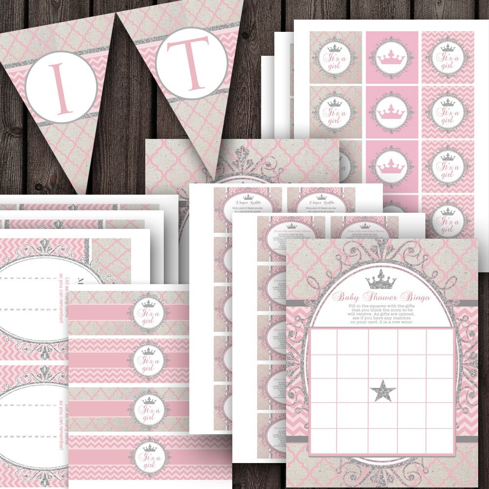 pink silver baby girl shower party package pink and silver