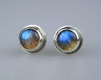 Labradorite Stud Earrings Sterling Silver | Blue Green Flash Labradorite Cabochons | Boho Studs | Modern Minimalist Jewelry | Made to Order