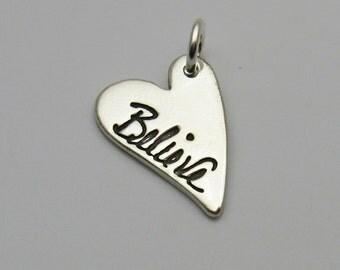 Silver Heart Handwriting Charm, Handwriting Charm, Heart Charm, Personalized Charm, Signature Charm, Name Charm, Memorial Charm, Handwritten