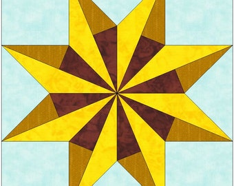 Andrea's LeMoyne Sunflower Paper Piece Templates Quilting Block Pattern