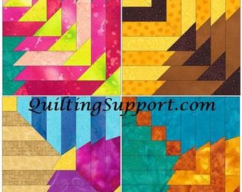 Log Cabin Circle Set 1 Paper Foundation Piecing Quilting 4 Block Patterns PDF