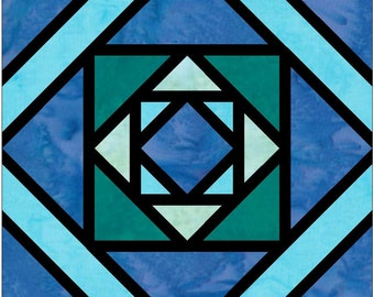 Stained Glass Diamond in a Square 7 Log Cabin Paper Piece Foundation Quilting Block Pattern