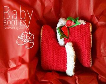 Santa Baby booties, Christmas crochet baby booties, Santa baby, Christmas gifts
