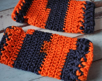 Fingerless Gloves - Orange and Navy - Crochet