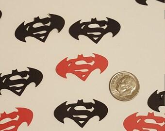 100 Batman VS Superman Inspired  Party Confetti-Table Scatter - Die Cut Punch Cardstock Batman V Superman Confetti