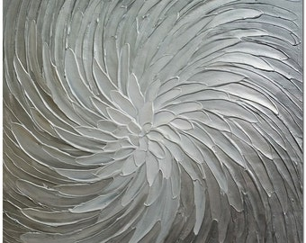 Silver Shinning - Signed Hand Painted Modern Abstract Oil Painting Heavy Texture On Canvas