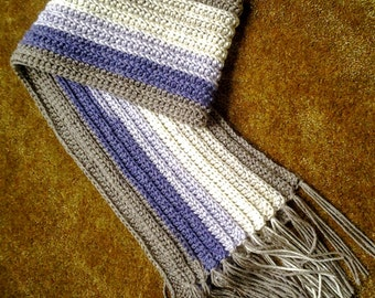 Purple and Gray Striped Scarf