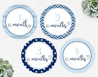 Baby Monthly Milestone Stickers - PRINTABLE Instant Download / Shades of blue for baby boy Monthly Baby Stickers for outfit / Digital File