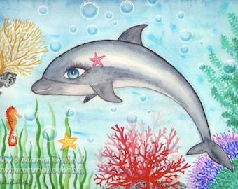 Dolphin art print. Under the sea decor. Dolphin watercolor art. Under the sea nursery. Nursery dolphin decor. Bathroom decor. Kids room art.