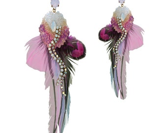Earrings pink Rooster feathers - birds of paradise