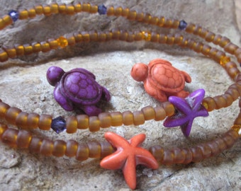 anklets beaded anklets purple or orange starfish anklet or sea turtle anklet surfer stretch anklet