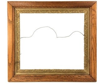 "Large 24.5"" Antique Gesso Wood Frame with Scroll Design, 22"" W x 24"" H Ornate Gold Gilt Picture Frame"