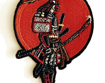 Japanese Warrior Samurai with Bloody Sword Iron on Embroidered Patch Applique HS P - WM - 0006