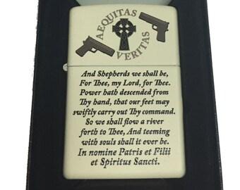 Aequitas Veritas Shepherd Family Prayer Zippo Lighter Cream Matte 216