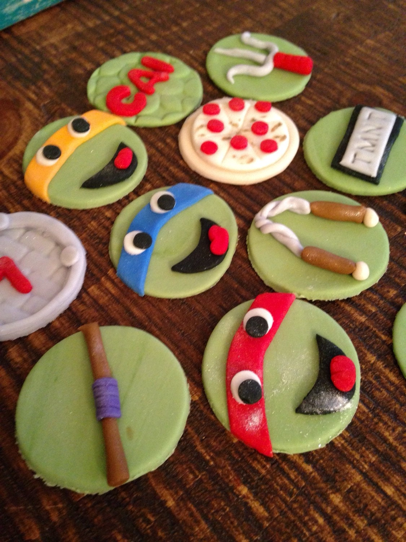 Edible Fondant TMNT Cupcake Toppers