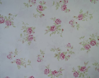 "Fat Quarter of Treasures by Shabby Chic Pink Roses on White Background. Approx. 18"" x 22"""