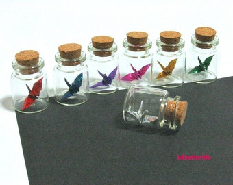 Lot Of 7pcs 1-inch Hand-folded Paper Crane In Clear Glass Mini Bottle With Cork. (4D Glittering paper series). #CIB07.