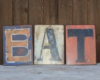 EAT SIGN- Kitchen Wall Decor, Eat Sign, Metal Eat Sign, Rustic Metal Letters, Eat Letters, Eat Metal Sign, Metal Signs, Metal Kitchen Sign