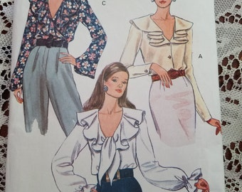 Vogue 8702 size 12 14 16 three blouse button down shirt seeing patterns ruffled collar long flowing sleeve