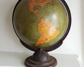 "1930s The George F. Cram Company 12""Terrestrial Globe"