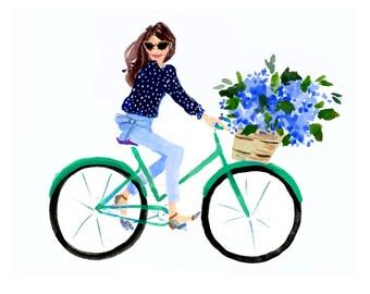 Hydrangea Bike Girl Art Print