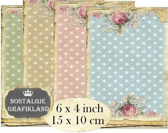 Stars Shabby Chic Background 6 x 4 inch Instant Download printable digital collage sheet D140