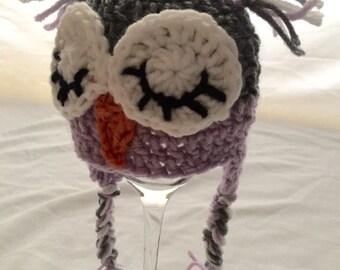 Newborn Sleepy Owl Hat and Diaper Cover