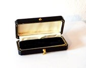 Vintage Black Gold Earring Box / Black Gold Ring Box Coffin / Vintage Small Black and Gold Leather Silk Velvet Lined Cuff Link Jewelry Box