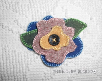 Handmade felted 100% wool flowered hair pin with button center