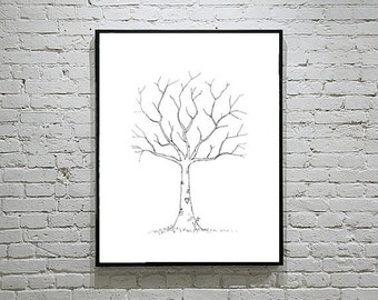 Baby Shower / Wedding Thumbprint Tree Guest Book Alternative Simple Outline