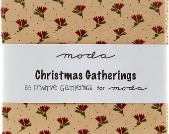 """Christmas Gatherings by Moda 42 5"""" Squares Charm Pack 100% Designer Cotton Fabric by Primitive Gatherings 1170PP"""