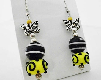 Butterfly earrings with lampwork glass beads