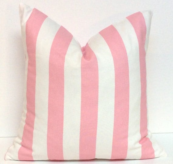 Pink and White Striped Pillow Cover Decorative Pillow