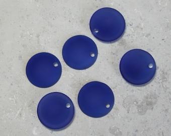 3  Pair of Beach Glass  23mm Royal blue