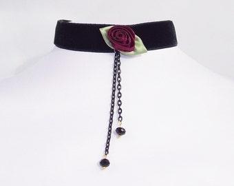 Velvet Choker Gothic Wine Red rose Bud Necklace
