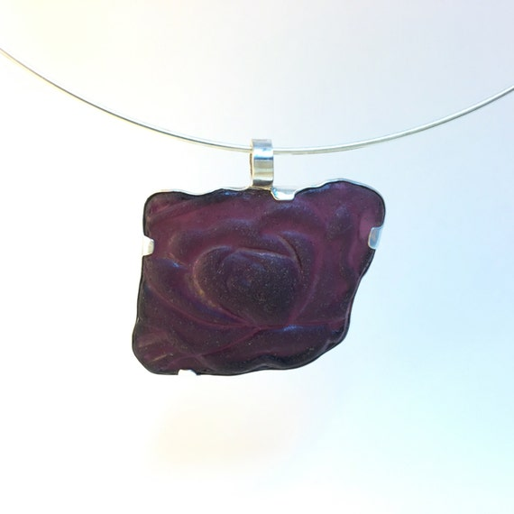Rare deep purple flower seaglass necklace