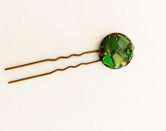 Green mosaic hair accessory shawl pin green stained glass mosaic tile, van gogh mosaic tile, glass pearl beads