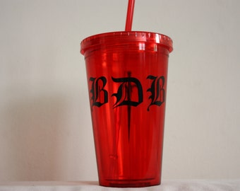 Black Dagger Brotherhood Tumbler with Straw - Red