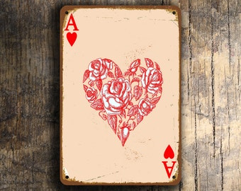 ACE of HEARTS Sign, Vintage Style Wall Sign, Ace of Hearts Wall Art, Ace Of Hearts playing Card Wall Art, Ace of Hearts Wall Sign,