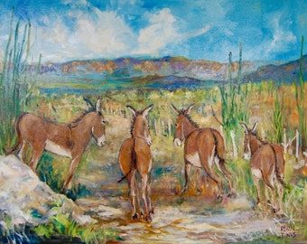 Burros in Flight 24 x 30 gallery wrapped ready to hang