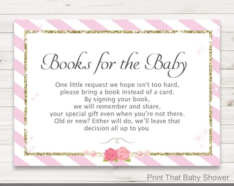 Baby Shower Invitation Insert - Pink and Gold Books For Baby - Baby Shower Inserts - Invitation Insert - Books For Baby Card - Pink and Gold