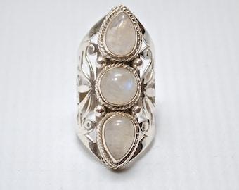 Sterling Silver Rainbow Moonstone 3 Stone Ring Sz (*) #6390