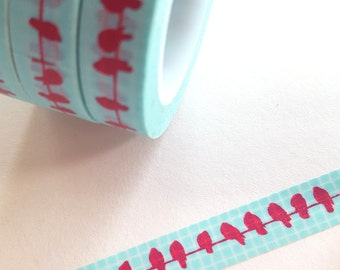 Aqua Boxes Raspberry Pink Birds on A Wire Washi Paper Masking Tape 11 yards x  .4 inches wide