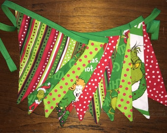 Grinch Bunting Banner, Grinch Christmas, Dr. Seuss Christmas Decor, Grinch Fabric Banner, Grinch Christmas Garland